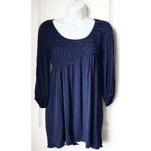 Max Studio Navy Ruffle Bust Stretchy Peasant Top